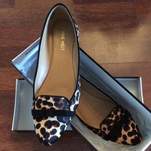 Leapard pointed toe flats